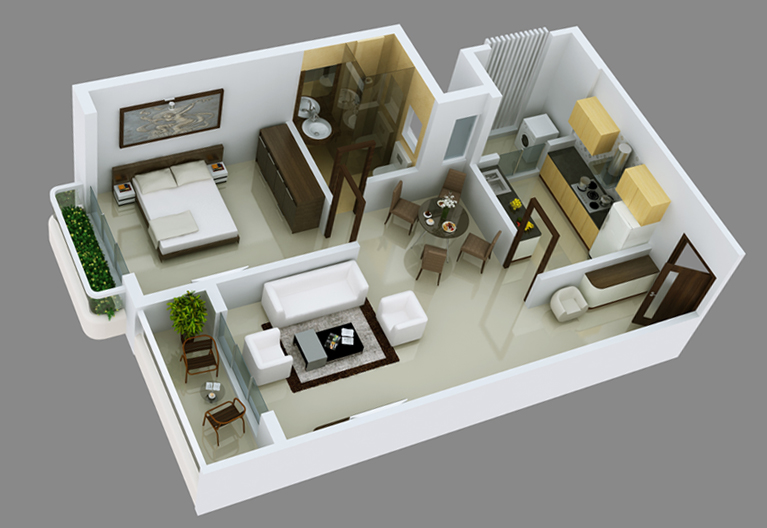 Interior design 3 bhk apartment for Home decor 3 room flat