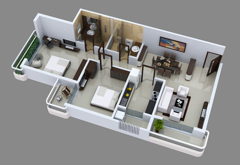 Maharaja infra for 1 bhk flat interior decoration image