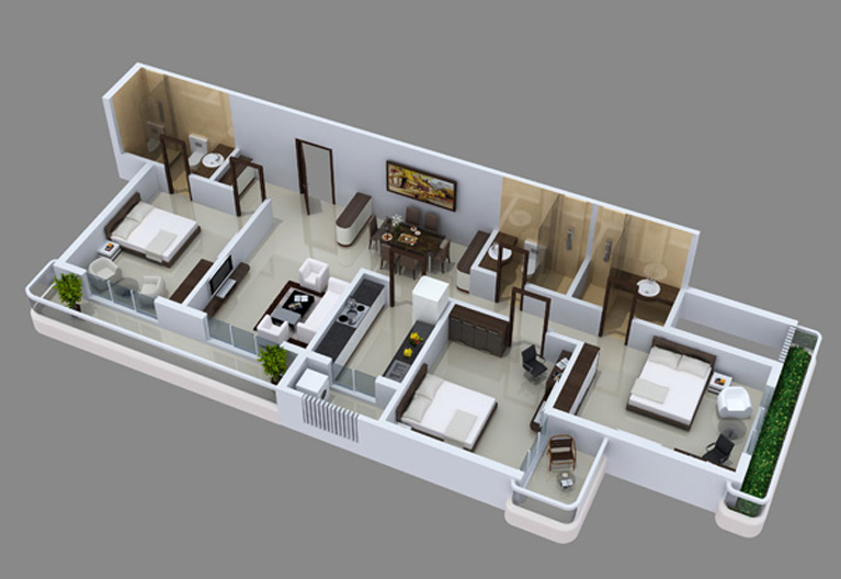 Maharaja infra for 3 bhk flat interior designs